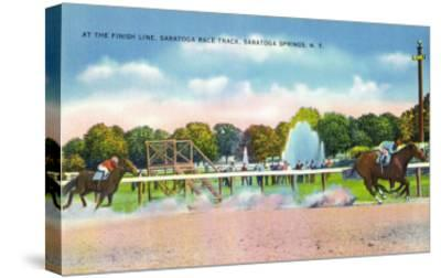 Saratoga Springs, New York - Saratoga Race Track Finish Line View-Lantern Press-Stretched Canvas Print
