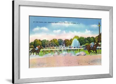 Saratoga Springs, New York - Saratoga Race Track Finish Line View-Lantern Press-Framed Art Print