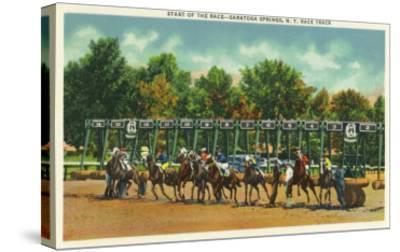 Saratoga Springs, New York - Saratoga Race Track Starting Line View-Lantern Press-Stretched Canvas Print