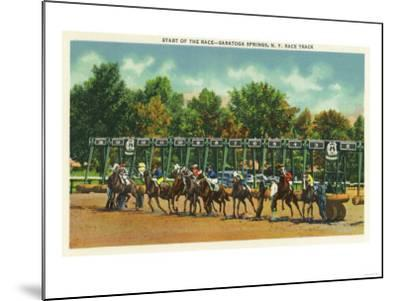 Saratoga Springs, New York - Saratoga Race Track Starting Line View-Lantern Press-Mounted Art Print