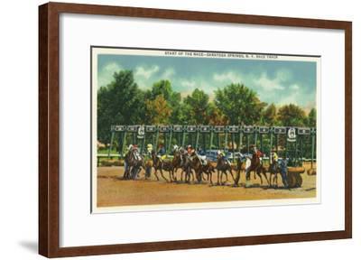 Saratoga Springs, New York - Saratoga Race Track Starting Line View-Lantern Press-Framed Art Print
