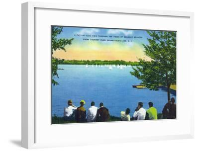 Skaneateles, New York - Country Club View of Sailboat Regatta on Lake-Lantern Press-Framed Art Print