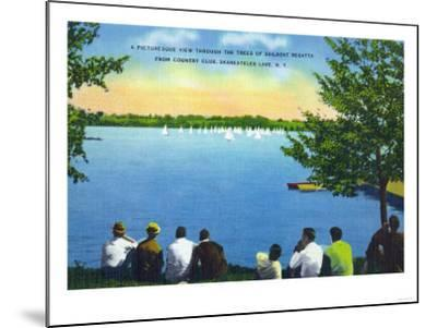Skaneateles, New York - Country Club View of Sailboat Regatta on Lake-Lantern Press-Mounted Art Print