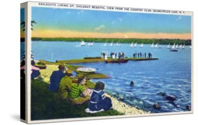 Skaneateles, New York - Country Club View of Sailboat Regatta No. 2-Lantern Press-Stretched Canvas Print