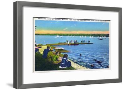 Skaneateles, New York - Country Club View of Sailboat Regatta No. 2-Lantern Press-Framed Art Print