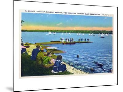 Skaneateles, New York - Country Club View of Sailboat Regatta No. 2-Lantern Press-Mounted Art Print