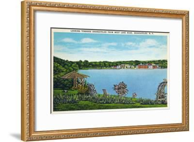 Skaneateles, New York - View of Town from West Lake Road-Lantern Press-Framed Art Print