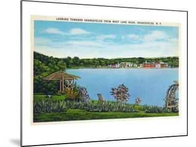 Skaneateles, New York - View of Town from West Lake Road-Lantern Press-Mounted Art Print