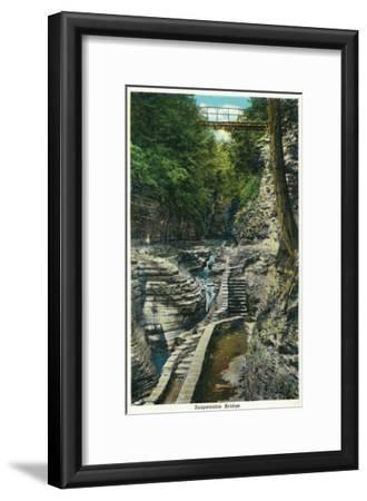 Watkins Glen, New York - View of a Suspension Bridge-Lantern Press-Framed Art Print