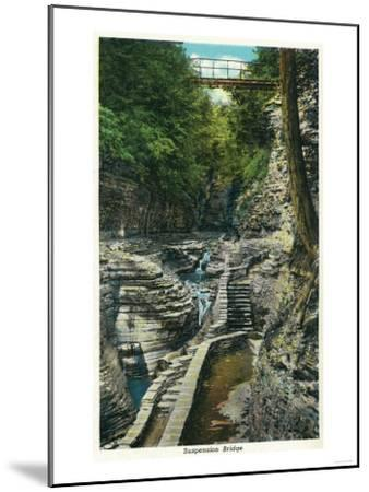 Watkins Glen, New York - View of a Suspension Bridge-Lantern Press-Mounted Art Print