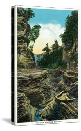 Watkins Glen, New York - View of the Southern Entrance Gorge-Lantern Press-Stretched Canvas Print
