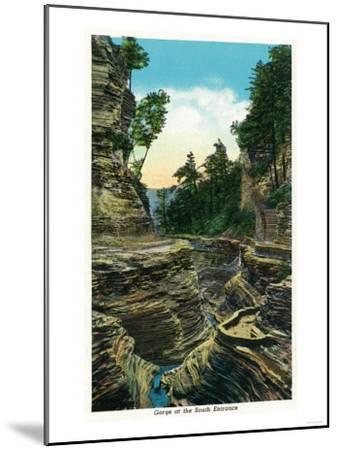 Watkins Glen, New York - View of the Southern Entrance Gorge-Lantern Press-Mounted Art Print