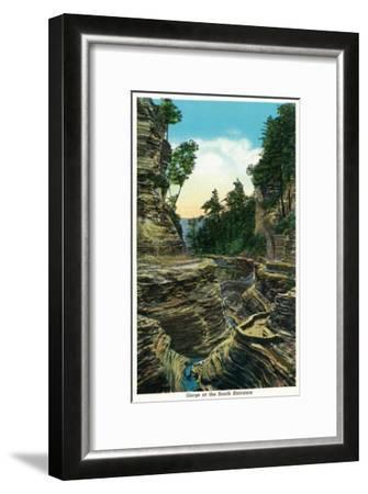 Watkins Glen, New York - View of the Southern Entrance Gorge-Lantern Press-Framed Art Print