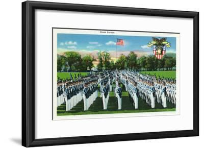 West Point, New York - Military Academy Dress Parade-Lantern Press-Framed Art Print