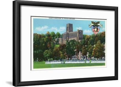West Point, New York - Cadets Marching to Parade Grounds Scene-Lantern Press-Framed Art Print