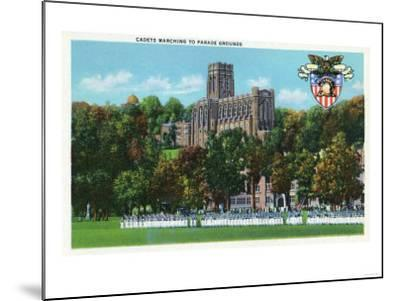 West Point, New York - Cadets Marching to Parade Grounds Scene-Lantern Press-Mounted Art Print