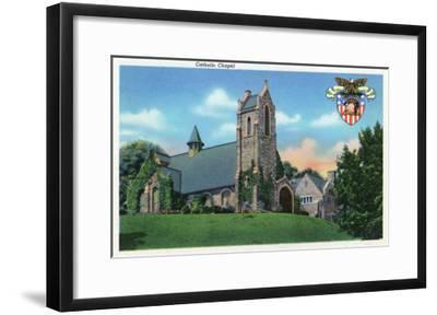 West Point, New York - Exterior View of the Catholic Chapel-Lantern Press-Framed Art Print