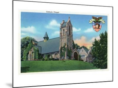 West Point, New York - Exterior View of the Catholic Chapel-Lantern Press-Mounted Art Print