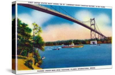 Watertown, New York - US Navy Vessel Under 1000 Island InterNational Bridge View-Lantern Press-Stretched Canvas Print