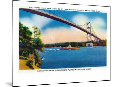 Watertown, New York - US Navy Vessel Under 1000 Island InterNational Bridge View-Lantern Press-Mounted Art Print