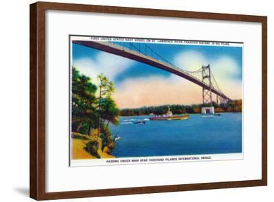 Watertown, New York - US Navy Vessel Under 1000 Island InterNational Bridge View-Lantern Press-Framed Art Print