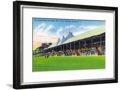 Saratoga Springs, New York - Racegrounds View of the Grand Stand at Track-Lantern Press-Framed Art Print