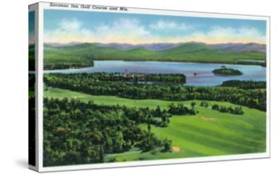 Saranac Lake, New York - Aerial View of Saranac Inn Golf Course and Mountains-Lantern Press-Stretched Canvas Print