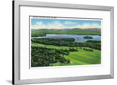 Saranac Lake, New York - Aerial View of Saranac Inn Golf Course and Mountains-Lantern Press-Framed Art Print