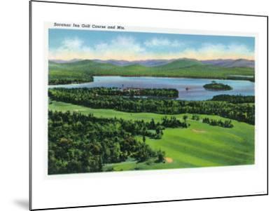 Saranac Lake, New York - Aerial View of Saranac Inn Golf Course and Mountains-Lantern Press-Mounted Art Print