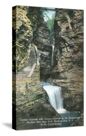 Watkins Glen, New York - State Park View of Curtain and Cavern Cascades-Lantern Press-Stretched Canvas Print