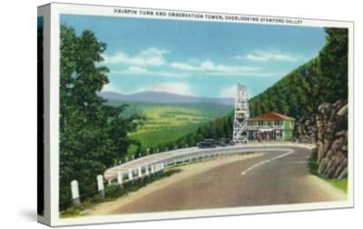 Stamford Valley, MA - Mohawk Trail Hairpin Turn and Observation Tower View-Lantern Press-Stretched Canvas Print