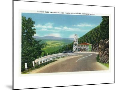 Stamford Valley, MA - Mohawk Trail Hairpin Turn and Observation Tower View-Lantern Press-Mounted Art Print