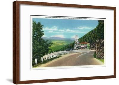 Stamford Valley, MA - Mohawk Trail Hairpin Turn and Observation Tower View-Lantern Press-Framed Art Print