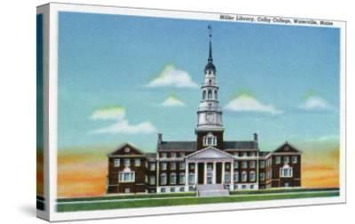 Waterville, Maine - Exterior View of Colby College Miller Library-Lantern Press-Stretched Canvas Print