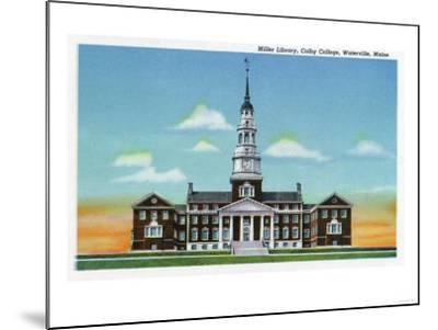 Waterville, Maine - Exterior View of Colby College Miller Library-Lantern Press-Mounted Art Print