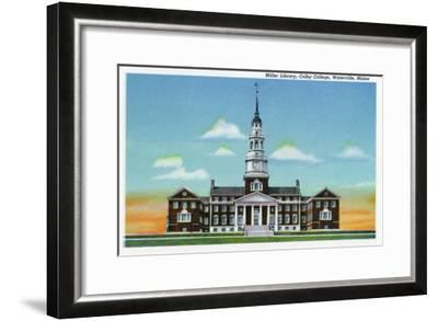 Waterville, Maine - Exterior View of Colby College Miller Library-Lantern Press-Framed Art Print