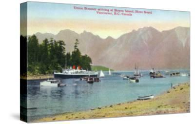 Vancouver, Canada - Howe Sound View of Union Steamer at Bowen Island-Lantern Press-Stretched Canvas Print