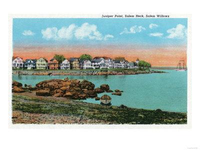 Salem, Massachusetts - Salem Willows View of Juniper Point and Salem Neck-Lantern Press-Framed Art Print