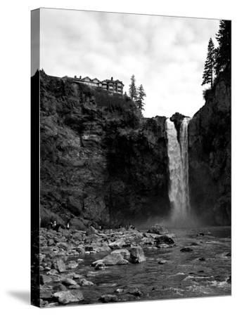 Snoqualmie Falls, Washington - View from Below Falls-Lantern Press-Stretched Canvas Print