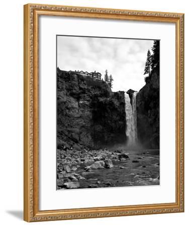 Snoqualmie Falls, Washington - View from Below Falls-Lantern Press-Framed Art Print