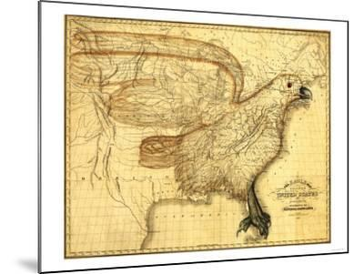 Eagle Superimposed on the United States - Panoramic Map-Lantern Press-Mounted Art Print