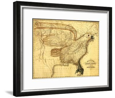 Eagle Superimposed on the United States - Panoramic Map-Lantern Press-Framed Art Print