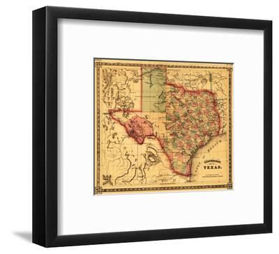 Texas - Panoramic Map-Lantern Press-Framed Premium Giclee Print
