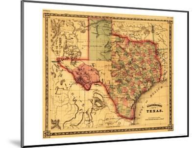 Texas - Panoramic Map-Lantern Press-Mounted Premium Giclee Print