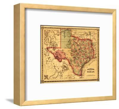Texas - Panoramic Map-Lantern Press-Framed Art Print