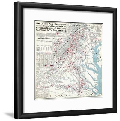 Battle of the Wilderness - Civil War Panoramic Map-Lantern Press-Framed Art Print