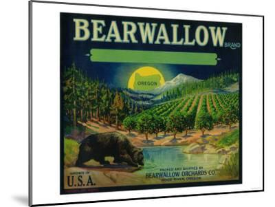 Bearwallow Apple Crate Label - Hood River, OR-Lantern Press-Mounted Art Print