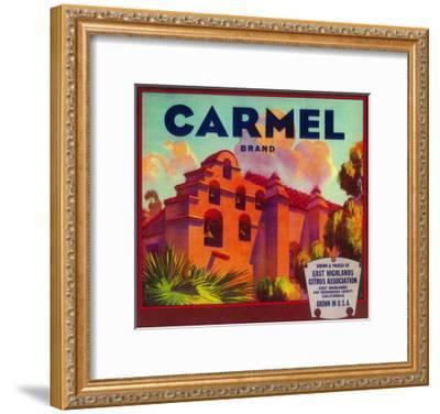 Carmel Orange Label - East Highlands, CA-Lantern Press-Framed Art Print