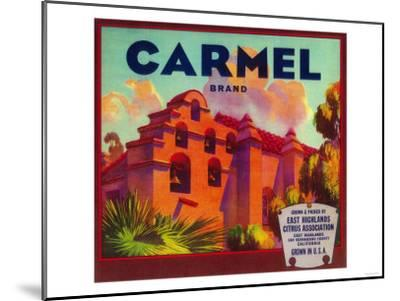 Carmel Orange Label - East Highlands, CA-Lantern Press-Mounted Art Print