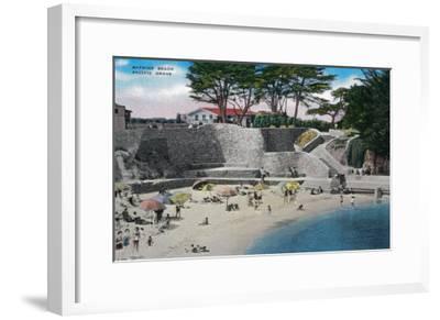 Bathing Beach at Pacific Grove - Pacific Grove, CA-Lantern Press-Framed Art Print